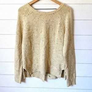 Market & Spruce Button Back Elbow Patch Sweater M
